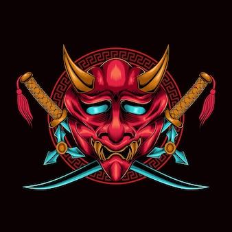 Logo wektor maski demona samuraja