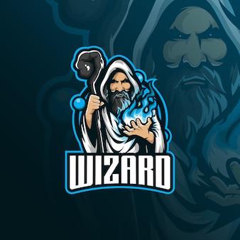 Logo wektor maskotka czarodzieja
