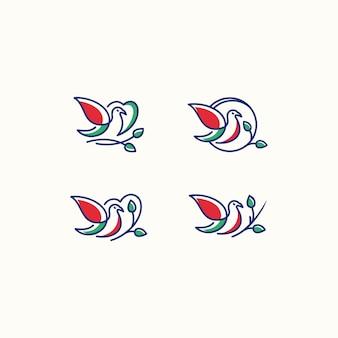 Logo wektor miłość ptak ikona grafika liniowa