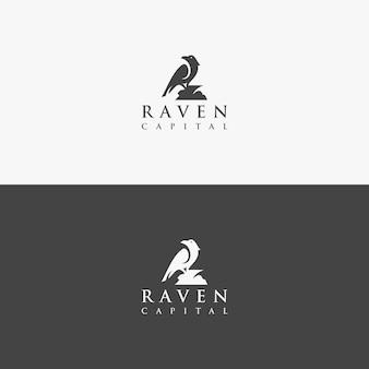 Logo wektor raven koncepcja wyjątkowa
