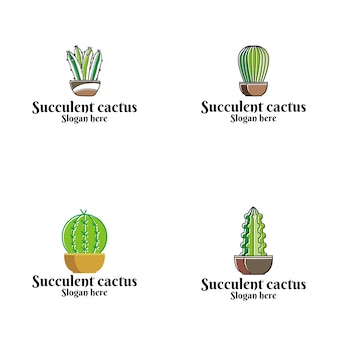 Logo wektor soczyste kaktus