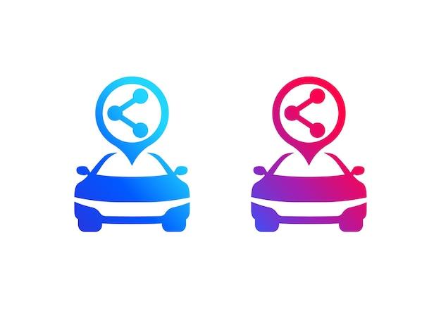Logo wektor usługi carsharing, ikona udostępniania samochodów