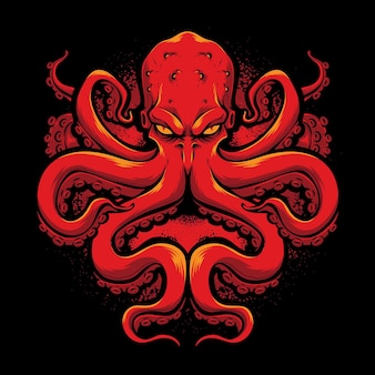 Logo wektor wściekły czerwony ośmiornica