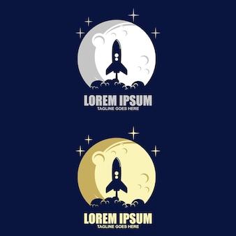 Logo wektorowe przedstawiające planetę, na którą leci rakieta.