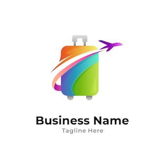 Logo wektorowe walizki i samolotu