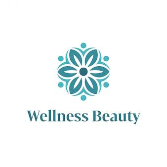 Logo wellness z prostym i czystym nowoczesnym designem z eleganckim stylem graficznym do masażu jogi lub spa
