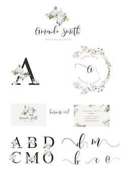Logo weselne, logo botaniczne, logo kwiaciarni botanicznej, logo znaku wodnego kwiaciarni, liście kwiatów