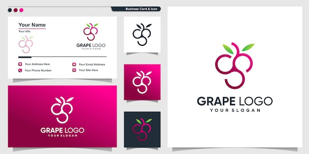 Logo winogronowe z nowoczesnym stylem konturu gradientu i wizytówką