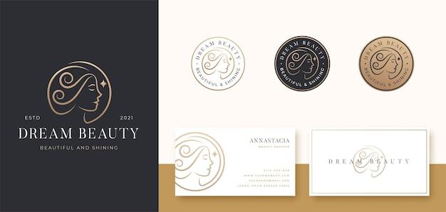 Logo Włosów Kobiet I Znaczek Z Wizytówką Premium Wektorów
