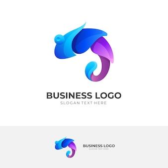 Logo wody kameleona w stylu 3d w kolorze fioletowym i niebieskim
