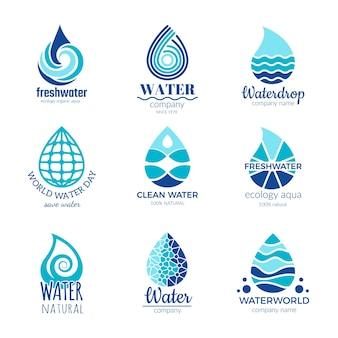 Logo wody. krople wody i plamy wody sylwetka symbole spa deszcz deszcz na białym tle z miejscem na tekst.