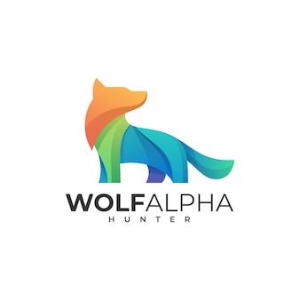 Logo wolf alpha gradient style.