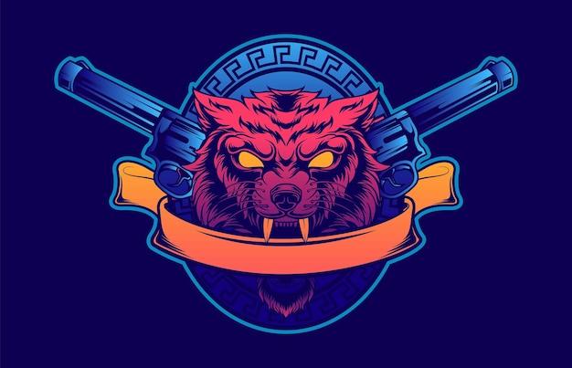 Logo wolfing w stylu retro z lat 80