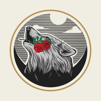 Logo wycie wilka z różą