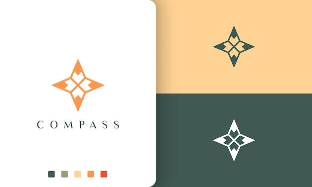 Logo wyprawy lub podróży o prostym i nowoczesnym kształcie kompasu