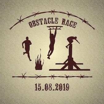 Logo wyścigu przeszkodowego z atletycznymi mężczyznami