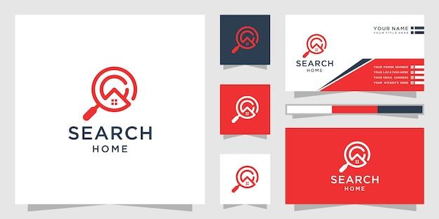 Logo wyszukiwania do domu i inspiracja wizytówkami