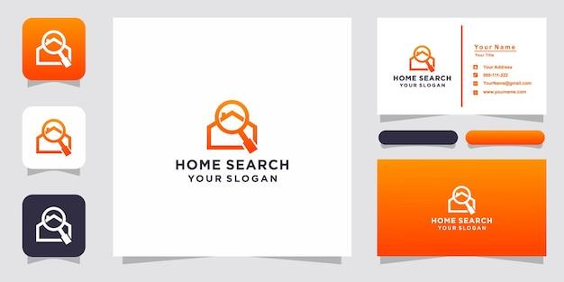 Logo wyszukiwania domu i wizytówka