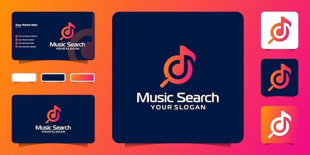 Logo wyszukiwania muzyki i szablony wizytówek