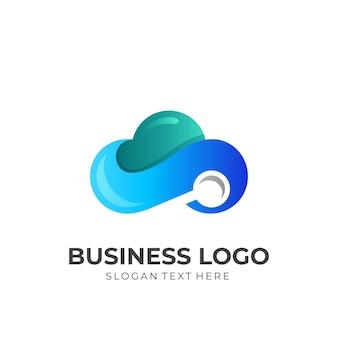 Logo wyszukiwania w chmurze, chmura i szkło powiększające, logo kombinacji z trójwymiarowym niebieskim i zielonym stylem