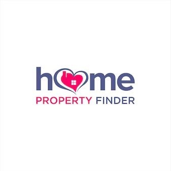 Logo wyszukiwarki nieruchomości prosta typografia domowa