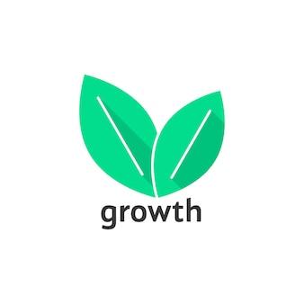 Logo wzrostu z zielonymi listkami. koncepcja identyfikacji wizualnej, agronomia, rolnictwo, liście, znak salonu spa. na białym tle. płaski trend w stylu nowoczesny liść logo projekt ilustracji wektorowych