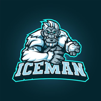 Logo yeti mascot dla esportu i sportu