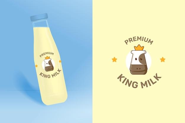 Logo z głową krowy dla marki mleka