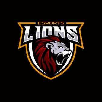 Logo z głową lwa dla sportowej i sportowej maskotki
