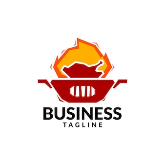 Logo z grillowanego kurczaka dobre dla logo restauracji ze specjalnością w menu z grillowanym kurczakiem