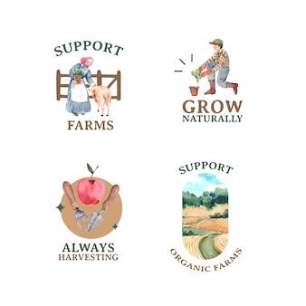 Logo z ilustracji akwarela projekt ekologicznej koncepcji gospodarstwa.
