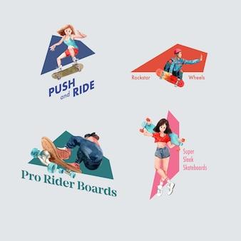 Logo z koncepcją projektowania deskorolki dla ilustracji wektorowych akwarela marki i marketingu.