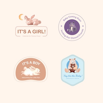 Logo z koncepcją projektu baby shower dla marki i marketingu ilustracji wektorowych akwarela.