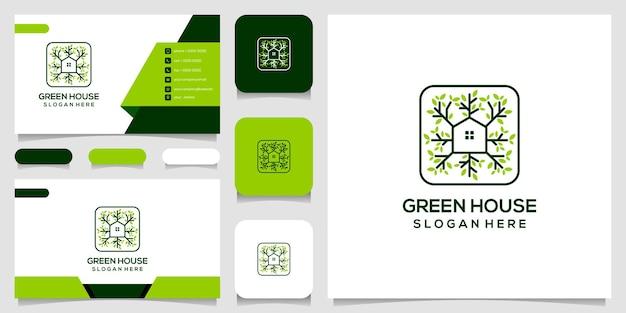 Logo z linii stylu sztuki i szablonu projektu wizytówki