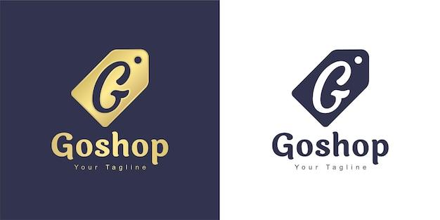 Logo z literą g ma koncepcję sklepu z etykietami