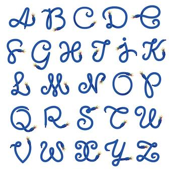 Logo z literami alfabetu wykonane z kabla elektrycznego.
