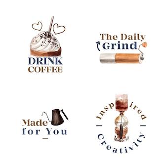 Logo z międzynarodowym projektem koncepcyjnym dnia kawy dla brandingu i marketingu akwareli