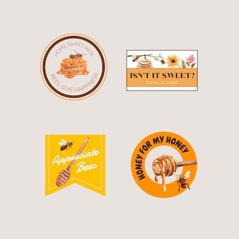 Logo z miodem do brandingu i marketingu akwareli