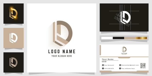 Logo z monogramem litery d lub ld z projektem wizytówki