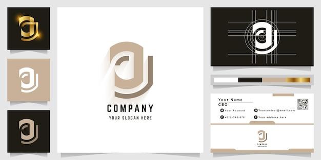 Logo z monogramem litery j lub jj z projektem wizytówki