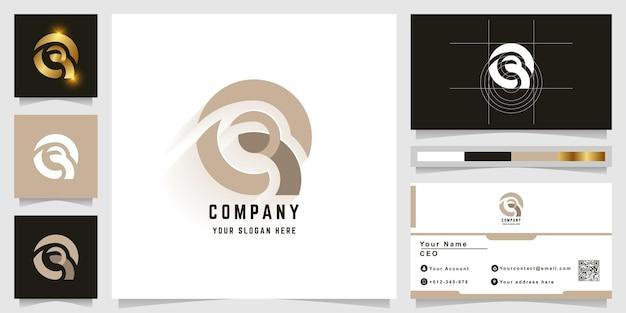 Logo z monogramem litery q lub e z projektem wizytówki