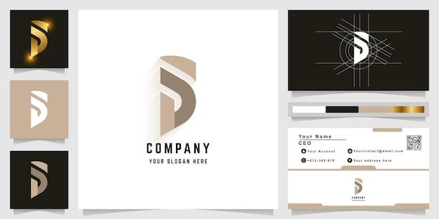 Logo z monogramem litery s lub sd z projektem wizytówki