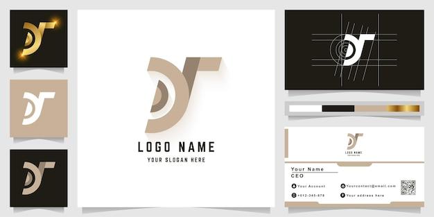 Logo z monogramem litery y lub dy z projektem wizytówki