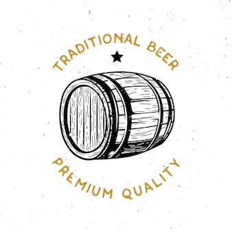 Logo z motywem piwa z drewnianą beczką piwa