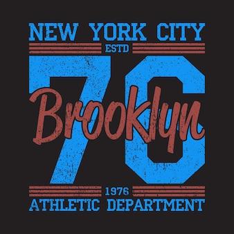 Logo z nadrukiem grunge new york brooklyn projekt graficzny dla odzieży sportowej z numerem tshirt
