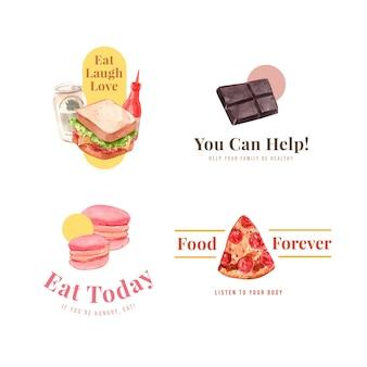 Logo z projektem koncepcyjnym światowego dnia żywności dla restauracji i brandingu akwareli