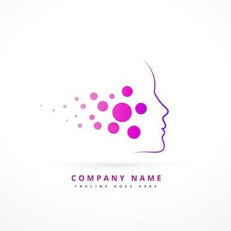 Logo z streszczenie fioletowym twarzy