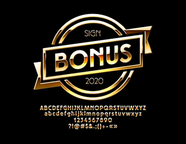 Logo z tekstem bonus zestaw cyfr alfabetu złotego i symbole interpunkcyjne