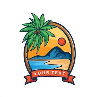 Logo z widokiem na morze i zachód słońca