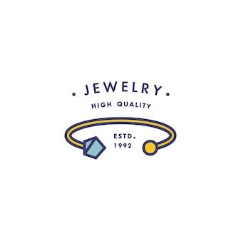 Logo z zawieszką w modnym stylu liniowym w kolorowych kolorach